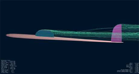 Evolution F3B - airflow visualisation at speed 10m/s (left view)