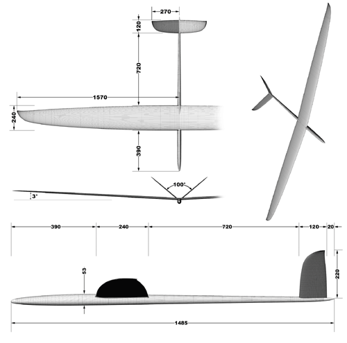 F3B Evolution V-tail drawing