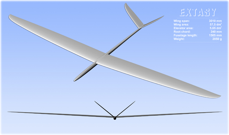F3B Extasy V-tail drawing